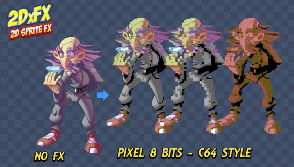 Pixel 8 Bits Commodore 64 - 2DxFX 2 x for Unity 5 x